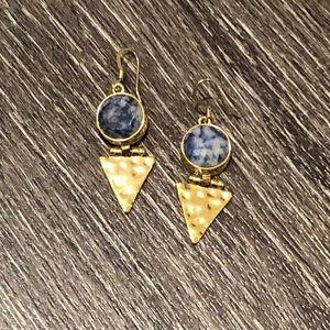 Jewelry - Blue and Gold Tribal / Arrowhead Earrings